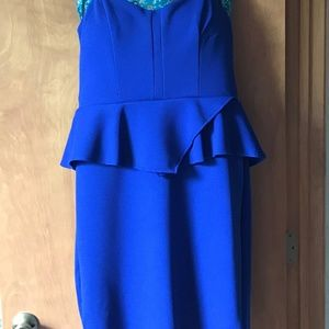 NWT Strapless Deep Blue Cocktail Dress